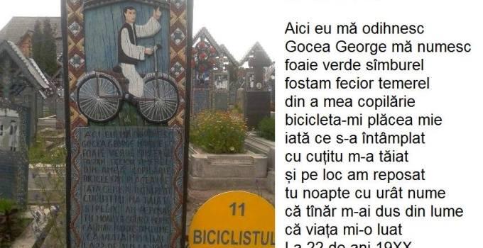 Biciclistul din Cimitirul Vesel de la Sapanta