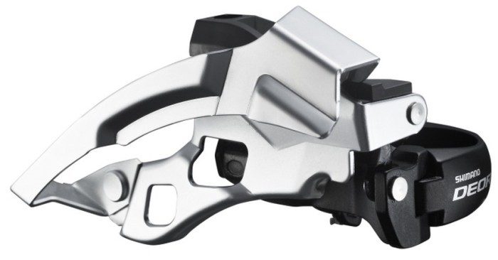 MENJAČ PREDNJI SHIMANO DEORE FD-T610, TRIPLE, 10 BRZINA, TOP SWING, DUAL PULL, BAND TYPE 34.9MM (W/ADAPTOR 28.6MM & 31.8MM), CS ANGLE 66-69, FOR 44/48T, BLACK, IND.PACK