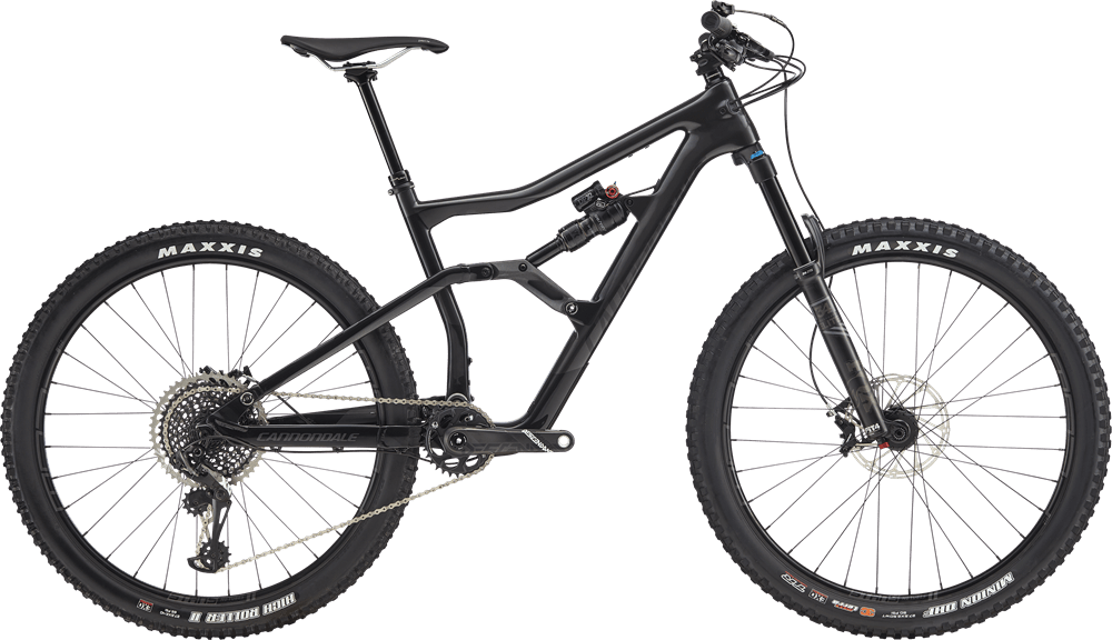 Cannondale Trigger 2 2019: forcella Fox Float Performance Elite 34 da 150 mm, pneumatici Maxxis 27,5 (ant. Minion DHF, post. High Roller II), gruppo Sram X01 Eagle (cannondale.com website)