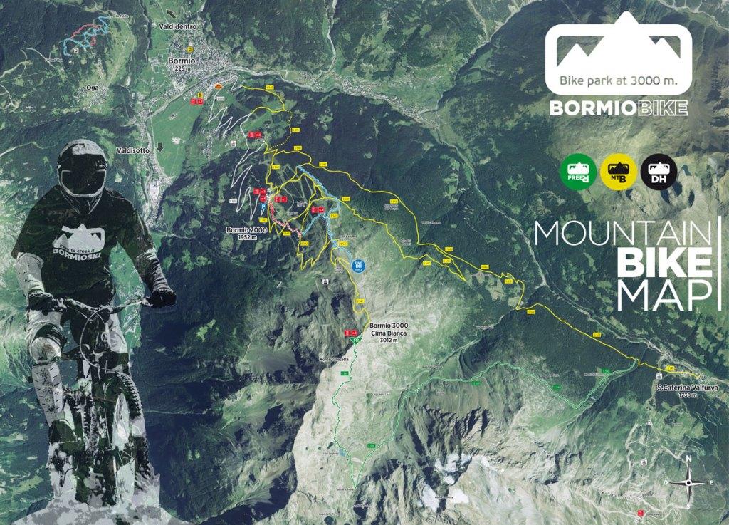 Mappa dei trail del Bormio Bike Park (per maggiori info, vai sul sito bormiobike.eu)