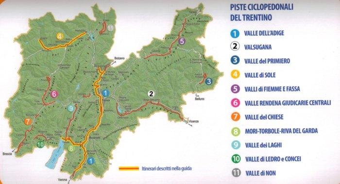 Mappa con i vari itinerari ciclabili in provincia di Trento (foto della cartina da superbikesharing.it)
