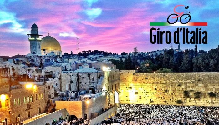 Foto del logo creato da RCS per la partenza del Giro d'Italia 2018 a Gerusalemme