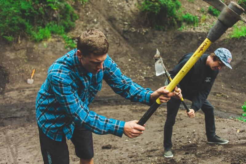 Trail boss Dustin Gilding and Brandon Semenuk hard at work.