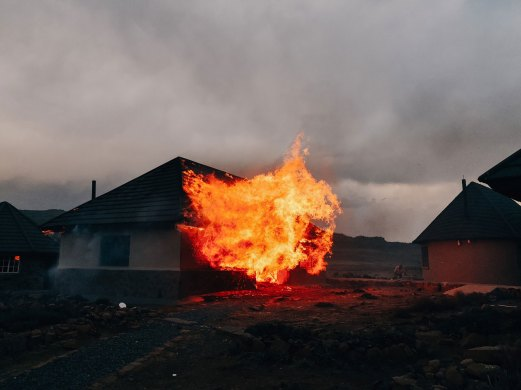 As if the day wasn't eventful enough, one of the chalets caught on fire due to gale force winds