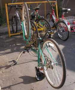Fixing a flat tire -upside down bicycle