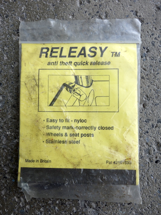 Releasy anti theft quick releases for wheels and seat posts
