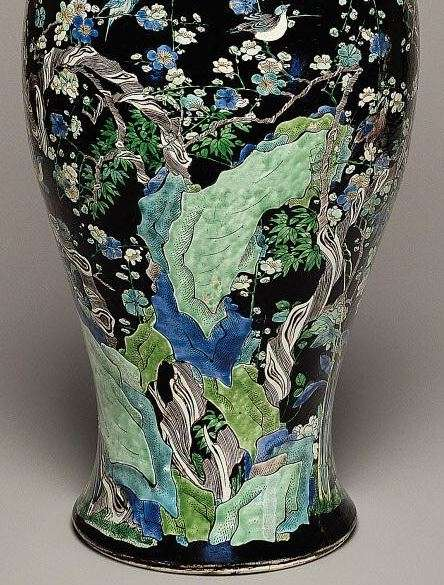 Kangxi Famille Noire baluster vase