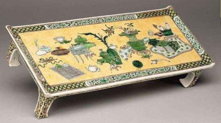 Kangxi Famille Jaune-Verte Miniature Table