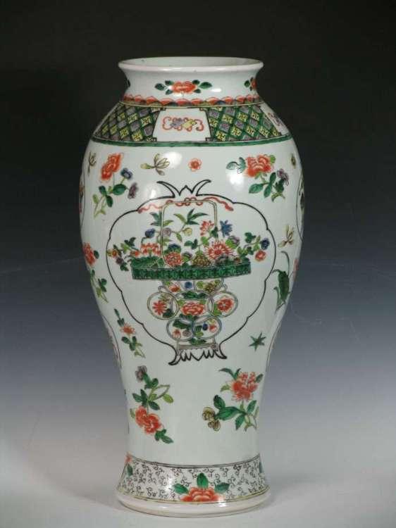 19th C. Chinese Famille Verte floral vase