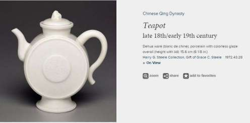 19th C. Chinese Blanc-de-chine teapot.