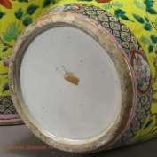 19th C. Famille Jaune Vase foot