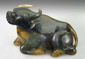 det, 18th C. Nephrite Water Buffalo