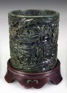 Carved Kangxi Jade Brush Pot