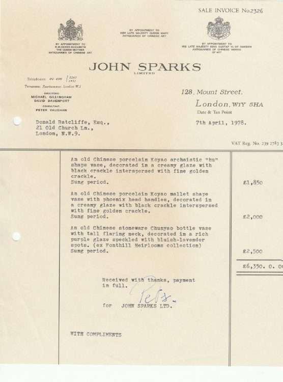 Fake receipt from John Sparks Song porcelain