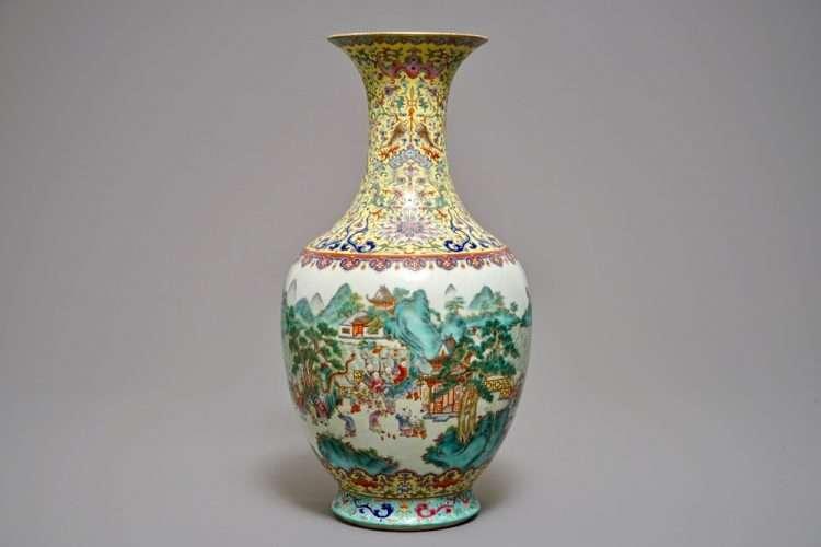 Famille Rose Jiqing Vase
