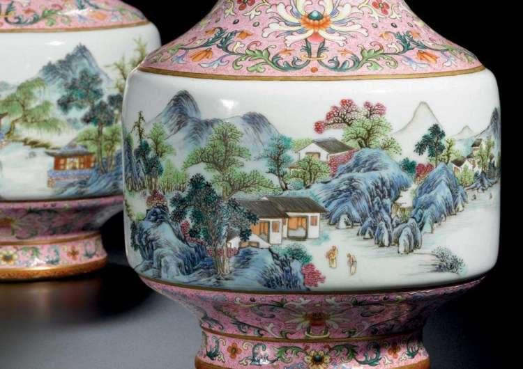 pair qianlong famille rose vases