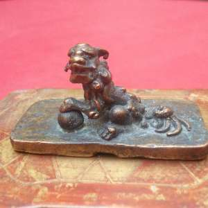 Antique chinese bronze seal with foo dog