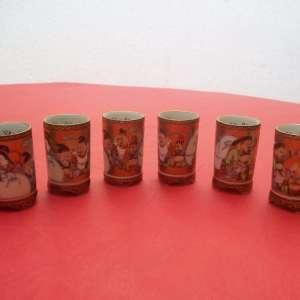 Antique japanese Kutani porcelain sake set 7 lucky gods with calligraphy