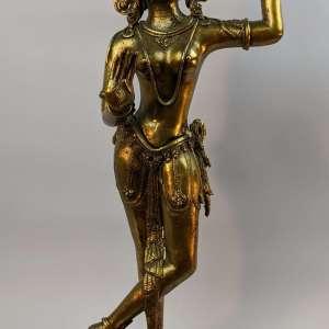 Antique Early 20th C Nepalese Sino-Tibetan Brass Dancing Tara, 20″ Tall, Lotus Base, Himalayan Sculpture Figure Female Buddhist Deity Bodhisattva Hinduism