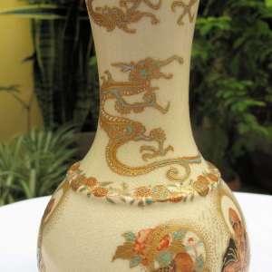 Antique japanese Satsuma ceramic Vase signed Gyokuzan with Luohans and Dragons