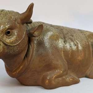 Vintage Japanese Bizen Yaki Bizen Ware Ox Bull w/ Ash Glaze Figure Sculpture