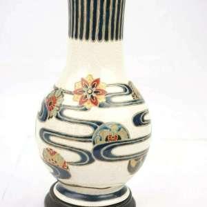 Japanese Imperial Satsuma Gosu Blue Signed Vase 8 1/2 Inches Height