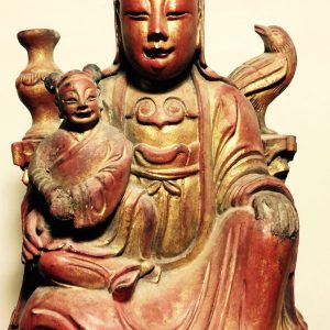 19C Red Lacquered Gilt Child Granting GwanYing