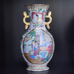 Antique canton rose mandarin vase high quality early 19th century famille rose