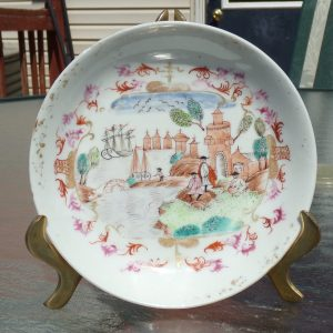 Antique 18C Famille Rose Dish with Peter the Great Meissen Style Qianlong