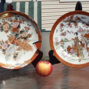 Pair Antique Japanese Kutani Ware Plates Meiji Period 19th/ 20th Century Signed