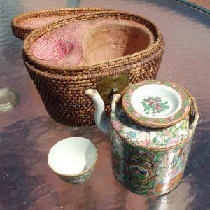 19th C. Chinese Export Rose Mandarin Wedding Presentation Tea Set