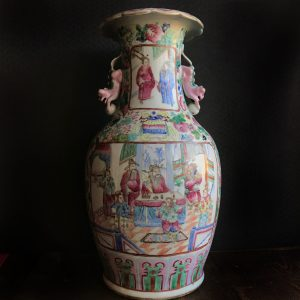 Antique Chinese famille rose porcelain vase mid 19th century Nonya Straits Peranakan