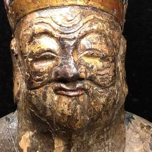 19c Antique Wooden Earth God Temple Statue – China