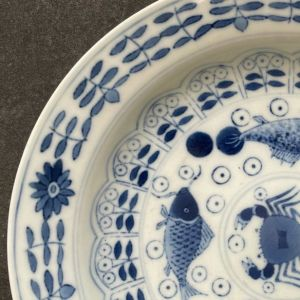 Chinese Guangxu Period Plate with Fish and Crabs (1875-1908)