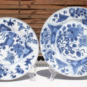 Chinese Blue and White Kangxi Porcelain Plates (x2) Marked