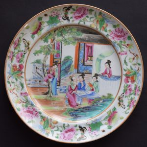 Antique Chinese famille rose mandarin Canton plate , Daoguang period
