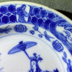 Blue and Plate after Cornelis Pronk: 'Dames au Parasol' Qianlong period (1735-1796)