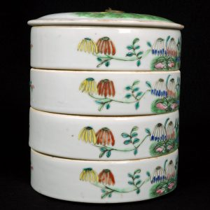 Chinese Qing Polychrome Porcelain Stacking Food Box Late 19th C