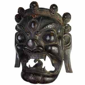 Antique Tibetan Hardwood Mask of Mahakala. Buddhist Dharmapala Protective Deity