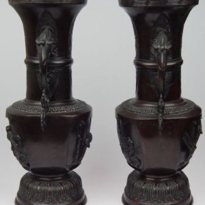 19th Century Pair of Japanese Bronze Vases with Phoenix Handles