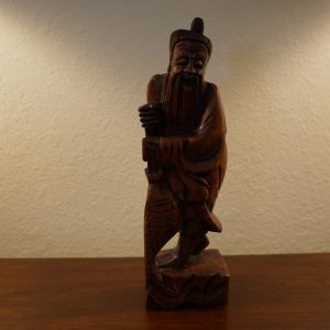 Antique Chinese Hand Carved Wood Figure of a Fisherman