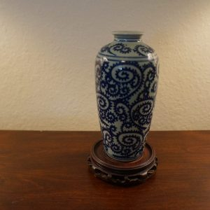 Antique Chinese Curly Grass Pattern Blue and White Porcelain Vase
