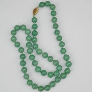 Chinese Celadon Jade Bead Necklace with Silver Clasp 1930's