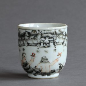 A Chinese export coffee cup with European or mythological scene