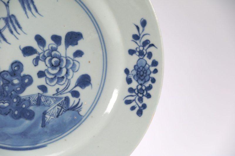 Antique 18thC c1750 Qianlong Blue & White Chinese Qing Nanking Porcelain Plate