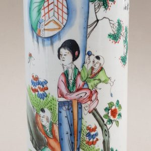 An antique Chinese famille rose porcelain hat stand painted with a lady and two children, Republic period