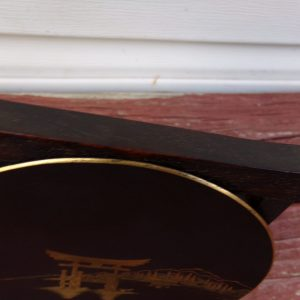 Japanese Iron Damascene Dish, signed Nihon koku Kyoto ju Komai sei, Meiji Period Komai Company Damascene Dish on Carved Zitan wood Stand