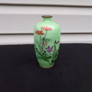 Antique Japanese Basse Taille Cabnet Vase Meiji Period Studio Signed