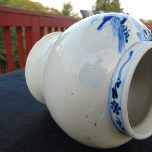 17th/18th C. Chinese Blue and White Porcelain Baluster Vase Kangxi