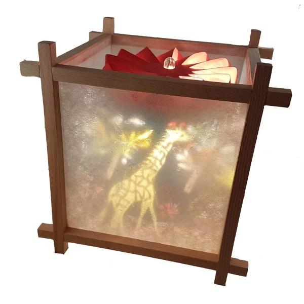 Lanterne Magique Artisanale en bois avec un décor de la jungle